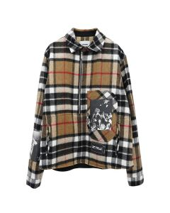 WE11DONE WD PRINT ANORAK CHECK SHIRT / CAMEL
