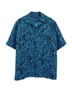 WE11DONE ZEBRA MENS SHORT SLEEVE SHIRT / BLUE
