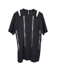 WE11DONE STRIPE WOOL SHOULDER SLIT DRESS / BLACK
