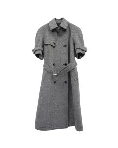 WE11DONE HERRINGBONE WOOL SHORT SLEEVE COAT / HERRINGBONE BLACK