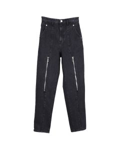 WE11DONE ZIP MOM JEANS / BLACK
