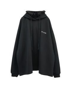 WE11DONE COTTON HOODIE WITH NYLON HOOD / BLACK