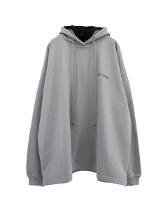WE11DONE COTTON HOODIE WITH NYLON HOOD / GREY