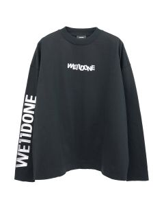 WE11DONE METAL LOGO LONG SLEEVE T-SHIRT / BLACK