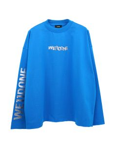 WE11DONE METAL LOGO LONG SLEEVE T-SHIRT / BLUE
