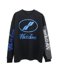 WE11DONE REMAKE LOGO LONG SLEEVE T-SHIRT / BLACK