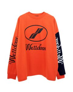 WE11DONE REMAKE LOGO LONG SLEEVE T-SHIRT / ORANGE