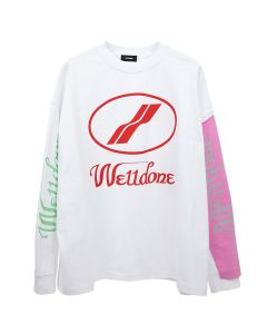 WE11DONE REMAKE LOGO LONG SLEEVE T-SHIRT / WHITE