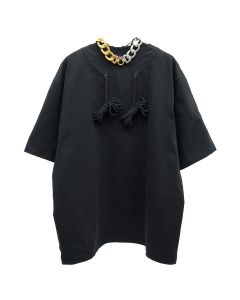 WE11DONE DRAWSTRING DETAIL T-SHIRT / BLACK