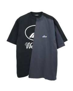 WE11DONE REMAKE REFLECTIVE HALF LOGO T-SHIRT / BLACK