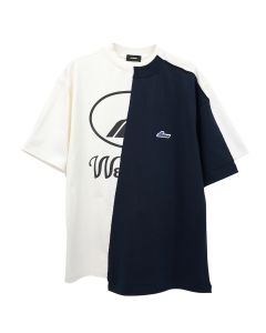 WE11DONE REMAKE REFLECTIVE HALF LOGO T-SHIRT / IVORY