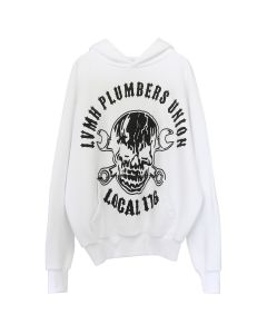 WARREN LOTAS LVMH PLUMBERS UNION-PRINT/PATCH HOODIE / WASHED WHITE