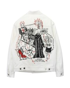 WARREN LOTAS EUROPA CUSTOM-MADE WHITE DENIM JACKET / WHITE