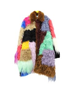 Walter Van Beirendonck FUR PATCH COAT / MULTICOLOR FAKE FUR