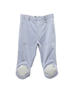 Xander Zhou CALF LENGTH TROUSER WITH KNEE LEATHER PADDING DETAIL / GREY