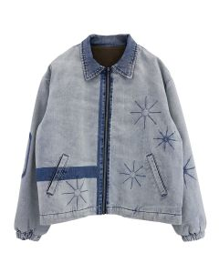 Xander Zhou LONG SLEEVES ZIP UP JACKET / WASHED DENIM