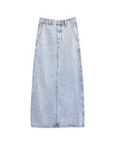 Xander Zhou LONG SKIRT WITH BRASS PLATINUM / WASHED DENIM