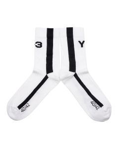 Y-3 LOGO SOCK / CORE WHITE-BLACK