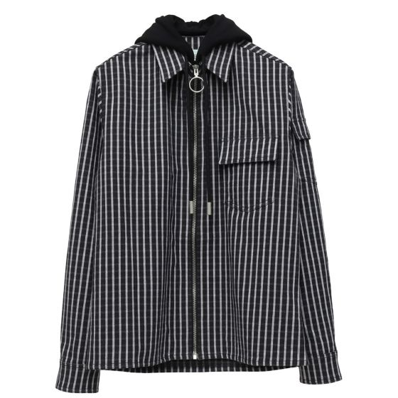 e03405282771ab OFF-WHITE c/o Virgil Abloh MENS DIAG STRIPED HOODIE SHIRT / 1088 : BLACK  MULTICOLOR