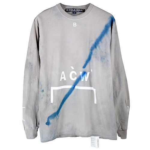 a cold wall acw paint stained logo signature longsleeve slate