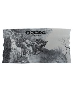 032c BLANKET WITH PLACED PRINT / BLUE