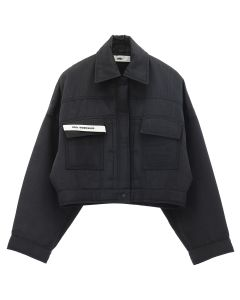 032c PADDED MOIRE JACKET+DENIM DETAIL / BLACK