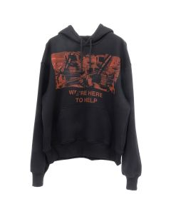 424  WE'RE HERE TO HELP OVERSIZED HOODIE / BLACK w/RED