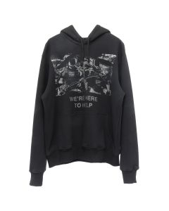 424 WE'RE HERE TO HELP GLITTER HOODIE / BLACK GLITTER