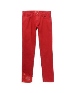 424 DENIM PANT W/PAISLEY DETAILING / RED-RED PAISLEY