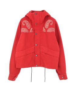 424 PAISLEY CROPPED DENIM PARKA / RED-WHITE