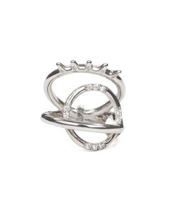 ALAN CROCETTI ENCRUSTED DITA SPUR RING / RHODIUM