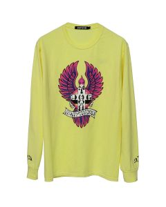 ADAPTATION THE BIRDS L/S VINTAGE TEE / YELLOW w/PINK