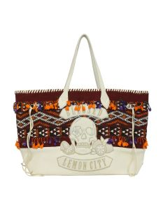 ALCHEMIST CASBAKILIM X CREAM DEERSKINSKULL & LEMON LEATHER APPLIQUE / MULTI