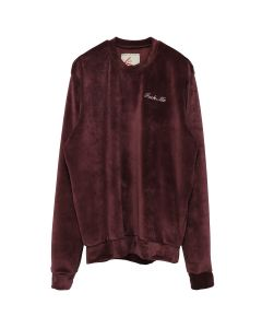 BOND VAULT FUCK ME EMBROIDERED VELOUR CREWNECK / BURGUNDY