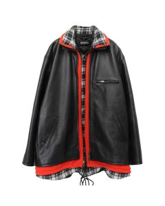 BALENCIAGA LEATHER JACKET/TCS08 / 1000 : BLACK