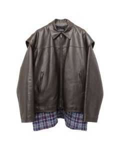 BALENCIAGA LEATHER JACKET/TYH14 / 2135 : BROWN