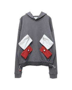 C2H4 UTILITY MULTI-POCKETS DATA CABLE HOODIE / DARK GRAY