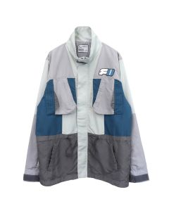 C2H4 COLOR BLOCKED UTILITY POCKETS TACTICAL JACKET / GRAY-BLUE