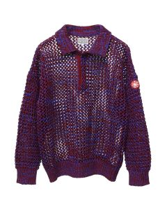 C.E LOOSE WAFFLE COLLARED KNIT / RED