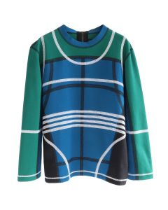 CRAIG GREEN PANELLED SWEATSHIRT / GREEN-BLACK-BLUE