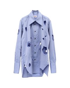 Charles Jeffrey LOVERBOY HOLEY OVERSIZED SHIRT WITH PATCH POCKET / CHAMBRAY