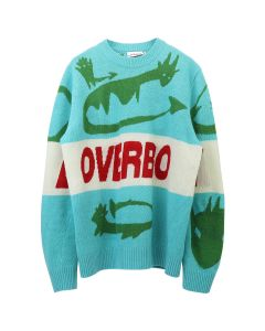 Charles Jeffrey LOVERBOY LOVERBOY LOGO LITTLE SILLIES JUMPER / GREEN MULTICOLOURED