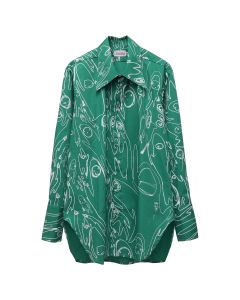 Charles Jeffrey LOVERBOY LITTLE YETI OVERSIZED SHIRT / GREEN PRINT