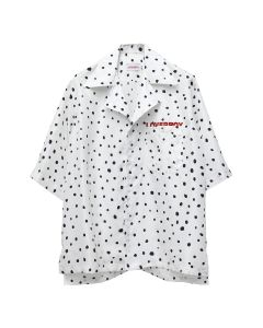 Charles Jeffrey LOVERBOY OVERSIZED HAWAIIAN SHIRT / WHITE POLKADOT