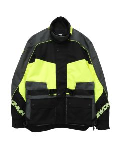 CMMN SWDN ROMAN-TECHNICAL PANELLED MOTO JACKET / NEON-GREY