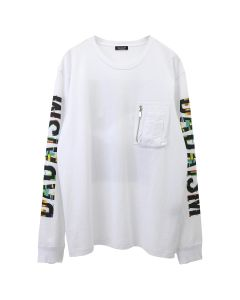 CHRISTIAN DADA GRAPHIC PRINT LONG SLEEVE POCKET T-SHIRT / WHITE