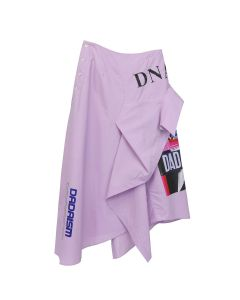CHRISTIAN DADA RECONSTRUCTED GRAPHIC PRINT FLARED SKIRT / LAVENDER