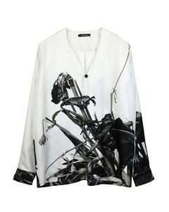 CHRISTIAN DADA ARAKI PRINT COLLARLESS SILK SHIRT / ARK.2