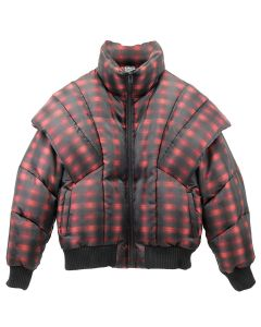 Feng Cheng Wang SCULPTED SLEEVE PUFFER JACKET / RED-BLACK CHECK