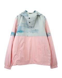 Feng Cheng Wang TWO-TONED HOODED PULLOVER ANORAK / ROSE-WATERCOLOR